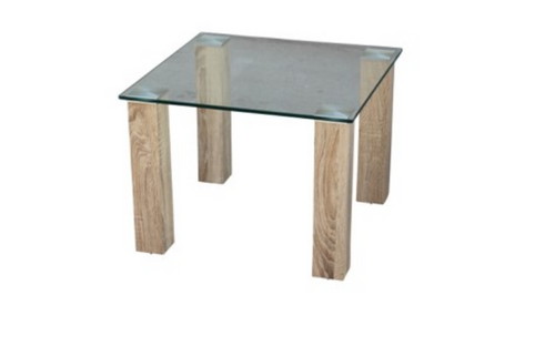 HAVANA GLASS TOP LAMP TABLE - 600(W) X 600(D)   - COLOUR AS PICTURED