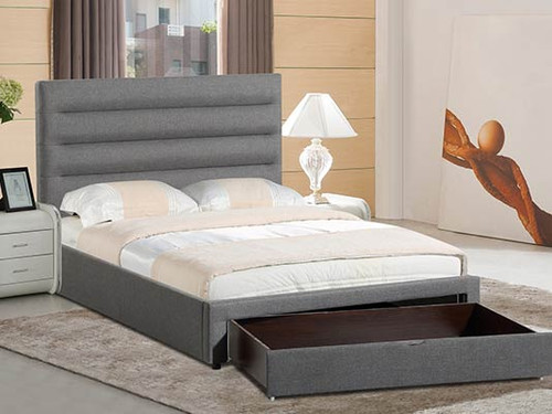 QUEEN  NEWAY  FABRIC BED WITH BIG  BED FOOT  DRAWER - (14-5-23-16-15-18-20) -  GREY