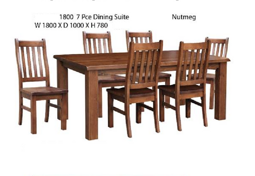 JAYDEN(3786) 7 PIECE DINING SETTING(MODEL - 7-5-15-18-7-9-1) - WITH 1800(L)  X 1000(W) TABLE-NUTMEG