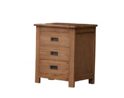 DANIEL (3719)  3 DRAWER BEDSIDE CHEST-CHESTNUT