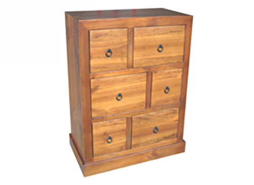 BONO TALLBOY WITH 6 DRAWERS - 1200(H) X 900(W) - ASSORTED COLOURS AVAILABLE