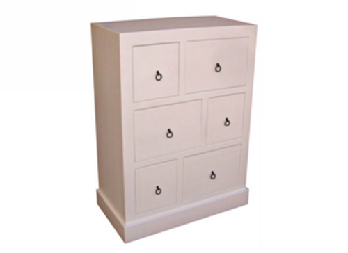 BONO (AUSSIE MADE) TALLBOY WITH 6 DRAWERS - 1200(H) x 900(W) - ASSORTED PAINTED COLOURS