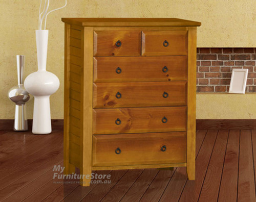 MANILLA (AUSSIE MADE) TALLBOY WITH 6 DRAWERS - 1200(H) X 940(W) - ASSORTED COLOURS
