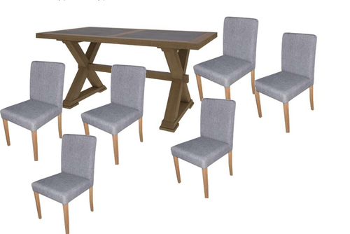 COTTAGE BILLABONG  9  PIECE DINING SUITE - 2100(L) X 1000(W)- COLOUR AS PICTURED