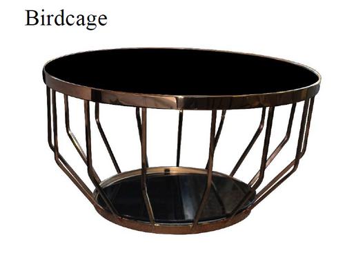 BIRDCAGE LAMP TABLE - 540(H) X 500(DIA)- BLACK+GOLD