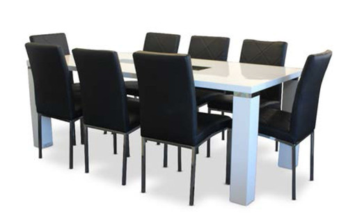 CASSIDY DINING TABLE 2100(L) X 900(W)- WHITE HI GLOSS