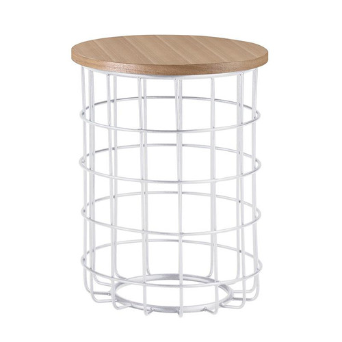 DORIENNE ROUND SIDE TABLE - NATURAL / WHITE