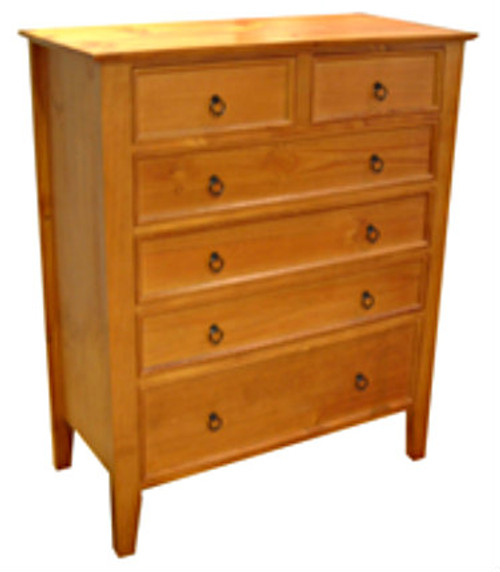 SHAKER TALLBOY WITH 6 DRAWERS - 1200(H) x 1000(W) - ASSORTED COLOURS