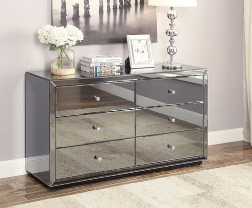BOULEVARD 6 DRAWER MIRRORED LOWBOY - SMOKE GREY