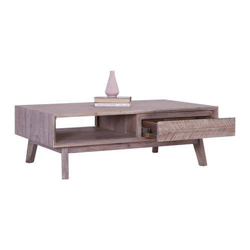 MADRID  HARDWOOD COFFEE TABLE WITH 2 DRAWERS  - 1200(W) - UNEVEN DISTRESS COLOUR