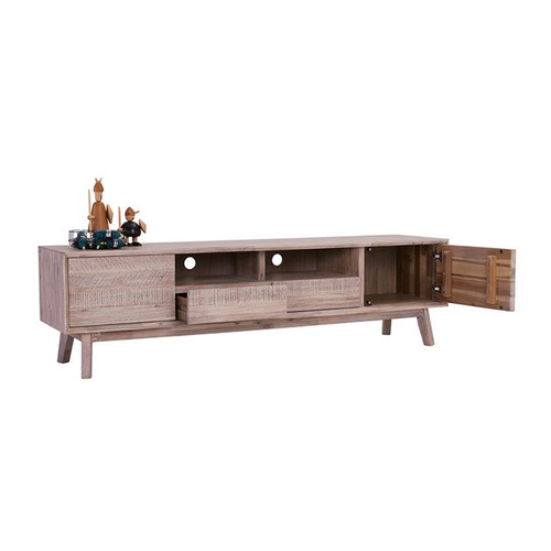 MADRID  HARDWOOD TV ENTERTAINMENT UNIT WITH DOORS AND DRAWERS  -550(H) X 2000(W)- UNEVEN DISTRESS COLOUR