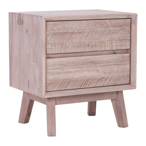 MADRID  HARDWOOD 2 DRAWER BEDSIDE TABLE   - UNEVEN DISTRESS COLOUR