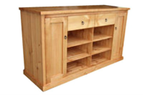 TIMBER LOWLINE TV UNIT WITH 2 DOORS, 2 DRAWERS & 6 COMPONENT SHELVES -1010(H) X 1800(W) -  ASSORTED COLOURS AVAILABLE