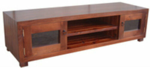 RETRO (AUSSIE MADE) CUSTOM TIMBER LOWLINE TV UNIT WITH 2 GLASS DOORS & 2 SHELVES -400(H) X 1500(W) - ASSORTED COLOURS AVAILABLE