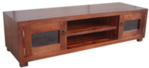 RETRO CUSTOM TIMBER LOWLINE TV UNIT WITH 2 GLASS DOORS & 2 SHELVES -400(H) X 1500(W) - ASSORTED COLOURS AVAILABLE
