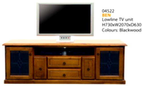 BEN LOWLINE TV UNIT WITH LEAD LIGHT CLEAR GLASS DOORS -730(H) X 2070(W) - ASSORTED COLOURS AVAILABLE