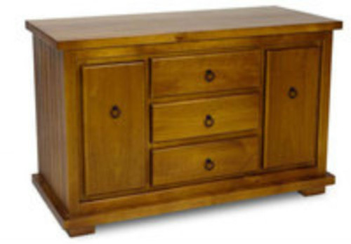 TIMBER LOWLINE TV UNIT WITH 2 DVD/CD PULLOUTS & 3 DRAWERS - ASSORTED COLOURS AVAILABLE