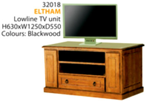 ELTHAM LOWLINE TV UNIT WITH 2 DVD/CD PULLOUTS & 1 DRAWER -630(H) X 1250(W)- ASSORTED COLOURS AVAILABLE