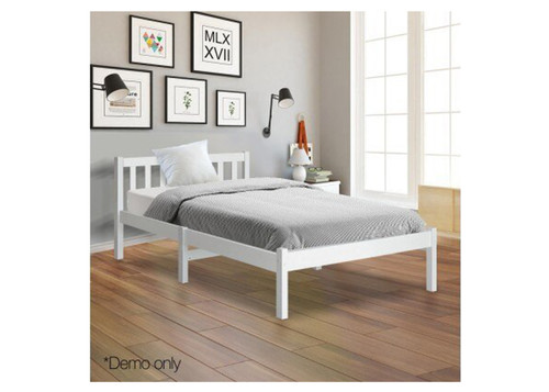 CARTER SINGLE WOODEN  BED  - WHITE