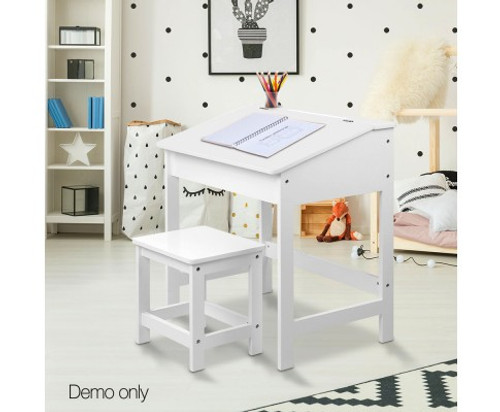 ARTISS KIDS LIFT UP DESK WITH STOOL - WHITE