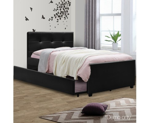 KING SINGLE  ARTISS  LEATHERETTE BED  WITH  TRUNDLE - BLACK