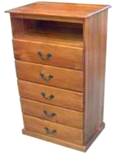 TIMBER TV STAND WITH 5 DRAWERS -1150(H) X 620(W) - ASSORTED COLOURS