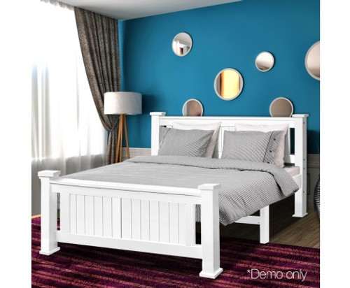 DOUBLE  TAN  SOLID TIMBER BED FRAME - WHITE