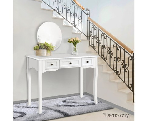 GEORGE   FRENCH PROVINCIAL HALL TABLE WITH DRAWERS - WHITE