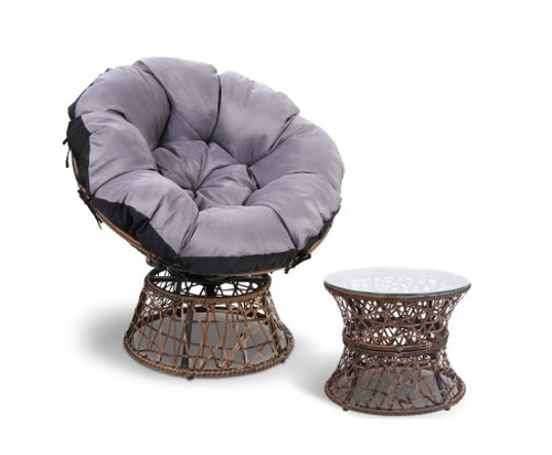 GARDON PAPASAN CHAIR AND SIDE TABLE - BROWN