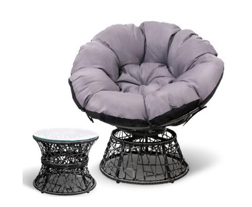 GARDON PAPASAN CHAIR AND SIDE TABLE - BLACK
