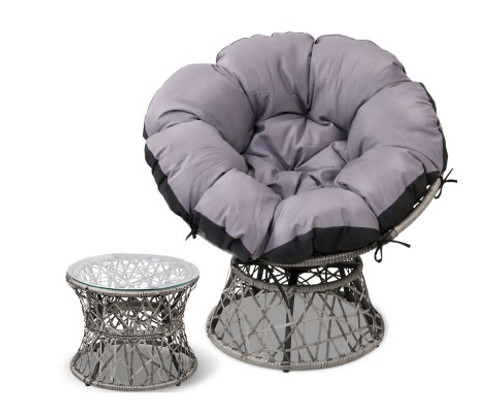 GARDON PAPASAN CHAIR AND SIDE TABLE - GREY
