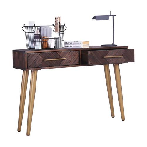 SIVANO HARDWOOD HALL TABLE WITH 2 DRAWERS  - BROWN / GOLD