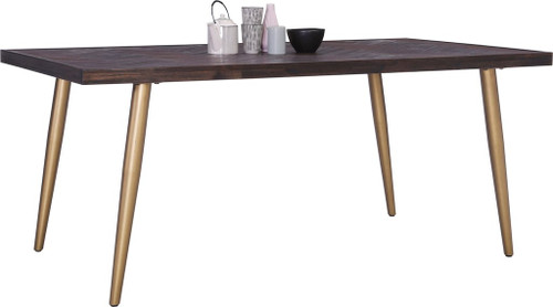 SIVANO HARDWOOD RECTANGULAR DINING TABLE - 1800(L)  - BROWN / GOLD