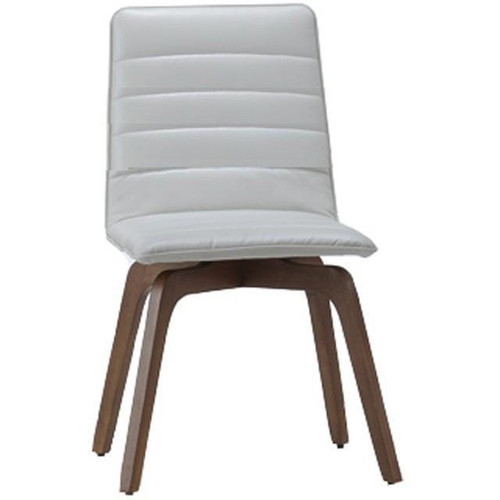 VOLENTE  LEATHERETTE DINING CHAIR  - DARK WALNUT / IVORY