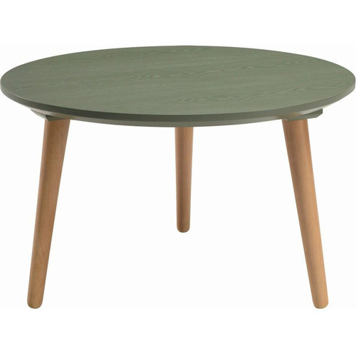 CARISON ROUND  COFFEE TABLE - PICKLE GREEN / NATURAL