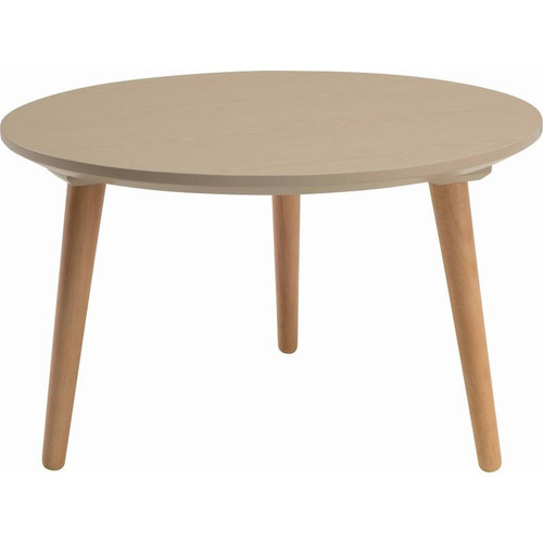 CARISON ROUND  COFFEE TABLE - TAUPE  GREY  / NATURAL