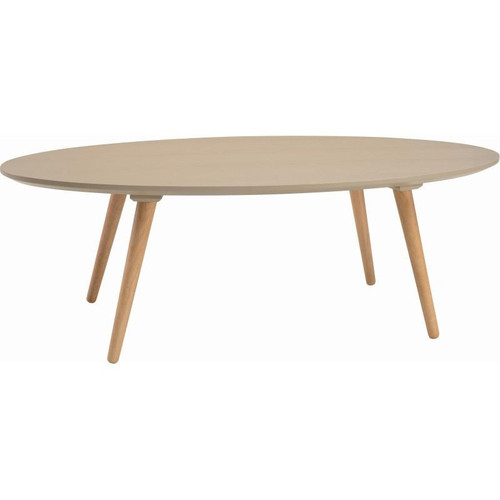 CARISON OVAL  COFFEE TABLE - TAUPE GREY  / NATURAL