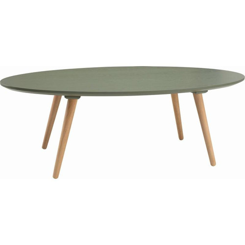 CARISON OVAL  COFFEE TABLE - PICKLE GREEN  / NATURAL