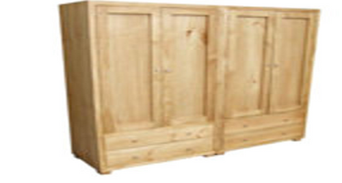 RETRO 2 PIECE WARDROBE WITH 4 DOORS & 4 DRAWERS - 1800(H) X 1800(W) - ASSORTED COLOURS AVAILABLE