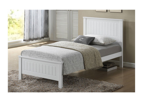 SINGLE RILEY PANEL  BED - WHITE