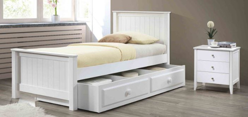 RILEY  SINGLE  3 PIECE BEDSIDE BEDROOM  SUITE (AS PICTURED) - WHITE