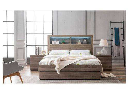 ROGAN KING 6 PIECE (THE LOT) BEDROOM SUITE - (MODEL:LS 718 K) - BED WITH LEAD LIGHT (MODEL:2-1-12-9) - MOCHA OAK