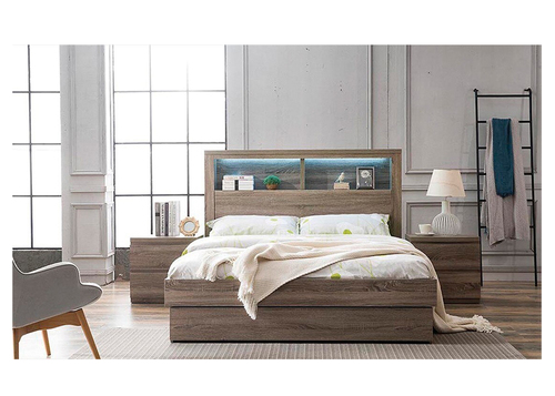 DOUBLE ROGAN BED WITH 3 DRAWERS OR  SIDE GAS LIFT WITH END DRAWER - (MODEL:LS 718 D ) - MOCHA OAK