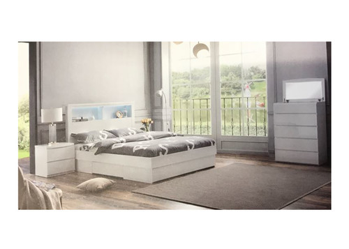 ROGAN  KING 4  PIECE (TALLBOY) BEDROOM SUITE - BED WITH LEAD LIGHT (MODEL:LS 718 K)  - HIGH GLOSS WHITE