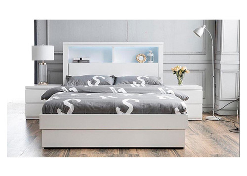 ROGAN SINGLE OR KING SINGLE 3   PIECE BEDROOM SUITE - (MODEL:LS 718/SK/S)  - HIGH  GLOSS WHITE