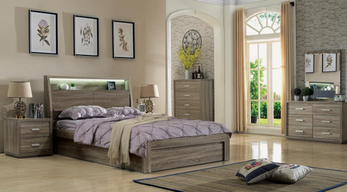 CHICAGO DOUBLE OR QUEEN 5 PIECE (DRESSER) BEDROOM SUITE - (2-15-19-20-15-14) - MOCHA OAK