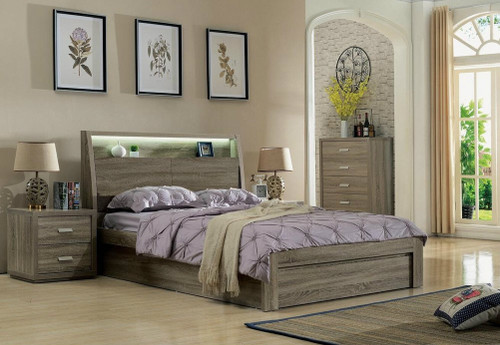 DOUBLE CHICAGO BED WITH GAS LIFT STORAGE AND LED LIGHT - (2-15-19-20-15-14) - MOCHA OAK