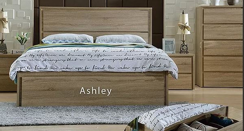 ASHLEY  DOUBLE OR QUEEN 5  PIECE (DRESSER ) BEDROOM SUITE WITH FRONT DRAWER - VINTAGE OAK