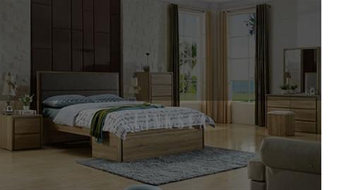 ASHLEY  DOUBLE OR QUEEN   5  PIECE (DRESSER ) BEDROOM SUITE - VINTAGE OAK