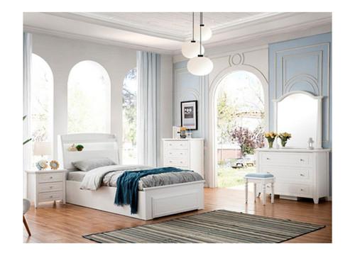 KING SINGLE HALIMA LIFT UP BED - STORAGE HEADBOARD WITH LED LIGHT  (LS-716KS) - IVORY WHITE